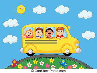 autobus, scolari, carrello, felice