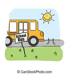 autobus, scuola, disegno