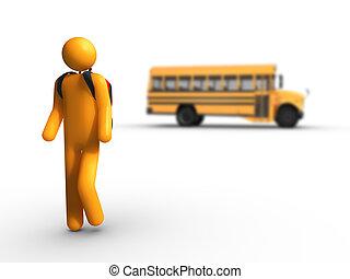 autobus, scuola, spento, prendere