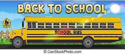 autobus, scuola, strada posteriore