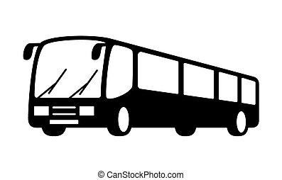 autobus, silhouette, noir