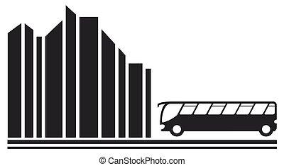 autobus, silhouette, ville, noir