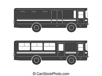 autobus, silhouettes
