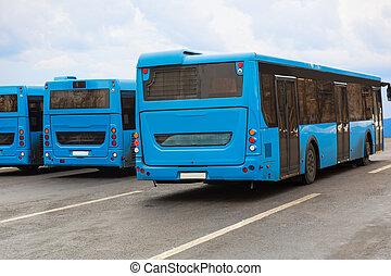 autobus, su, parcheggio