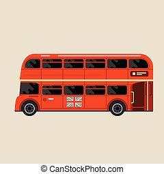 autobus, symbole, -, londres, vue, double-decker, côté, rouges