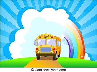autobus, szkoła, żółte tło
