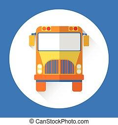 autobus, szkoła, barwny, ikona