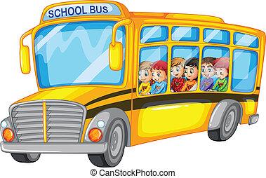 autobus, szkoła dzieci