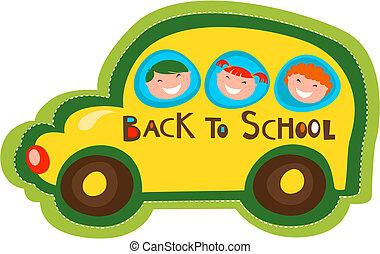 autobus, szkoła, wstecz