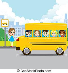 autobus, szkoła, zatrzymywać