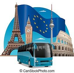 autobus, tour, européen