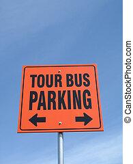 autobus, tour, signe parking