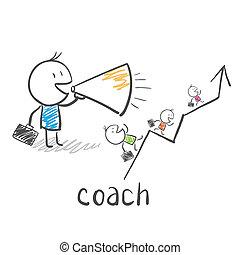autobus, trener, handlowy