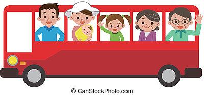 autobus, turysta, rodzina, szczęśliwy