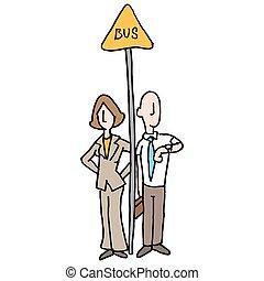 autobus, usługiwanie, handlowy zaludniają