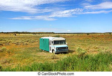 autobus, vecchio, abbandonato