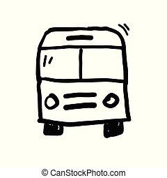 autobus, vecteur, griffonnage