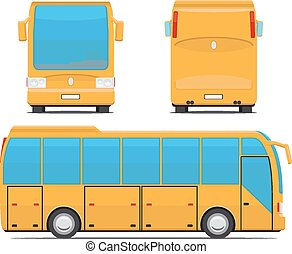 autobus, vecteur, jaune, illustration