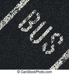 autobus, vecteur, road., asphalte, signe