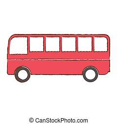 autobus, veicolo, isolato, icona