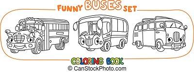 autobus, vendange, ensemble, eyes., coloration, rigolote, ...