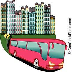autobus, ville