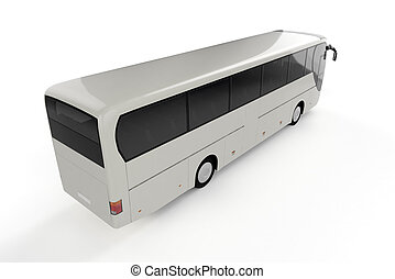 autobus ville, sommet, -, dos, perspective, fond, blanc, vue