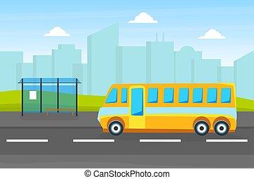 autobus ville, transport urbain, arrêt, vecteur, fond, paysage, illustration, public, jaune