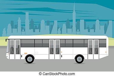 autobus, voiture, véhicule, icône, mockup, blanc