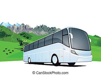 autobus, voyage, montagnes