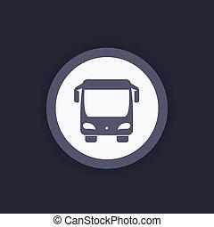 autobus, vue frontale, icône