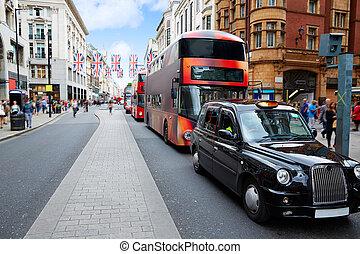 autobus, westminster, ulica, londyn, w1, oksford