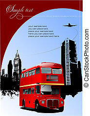 autobuses, londres, vector, decker, doble, retro