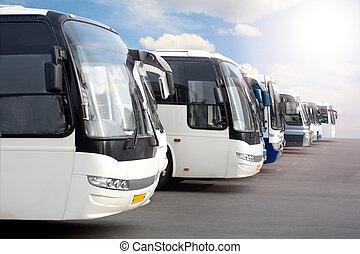 autobuses, turista, estacionamiento