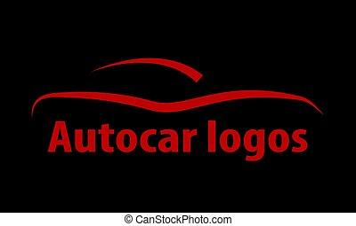 Autocar logo on a black background, vector art illustration.