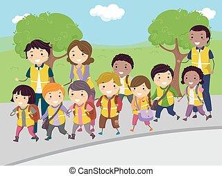 autocarro, andar, crianças, stickman