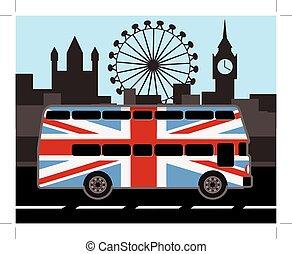 autocarro, bandeira, cores, britânico