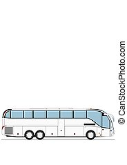 autocarro, coach., caricatura