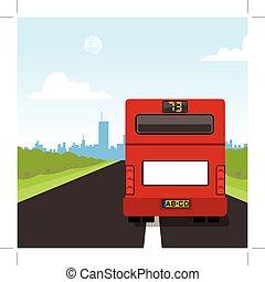 autocarro, costas, vermelho