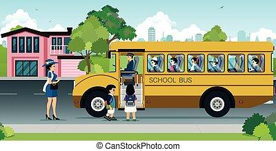 autocarro, crianças escola