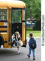 autocarro, crianças, obtendo