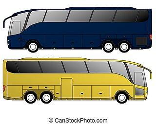 autocarro, desenho, turista, eixo, dobro