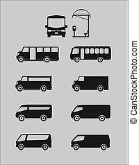 autocarro, diferente, vetorial, jogo