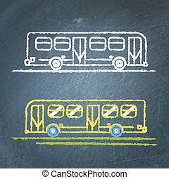 autocarro, esboço, chalkboard