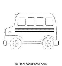 autocarro, esboço, escola