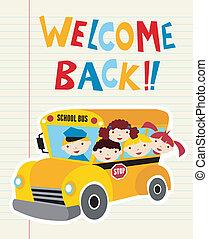 autocarro, escola, bem-vindo, costas