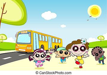autocarro, escola brinca, saída, vinda
