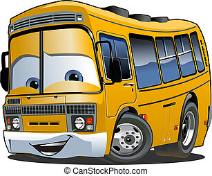 autocarro, escola, caricatura