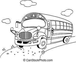 autocarro, escola, coloração, página