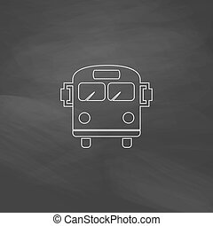autocarro, escola, computador, símbolo
